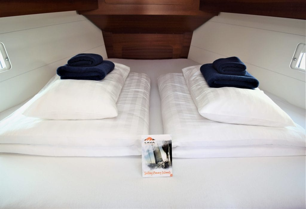 Made bed for our sailing and charter guests on the Canary Islands (All-In-Comfort-Paket)